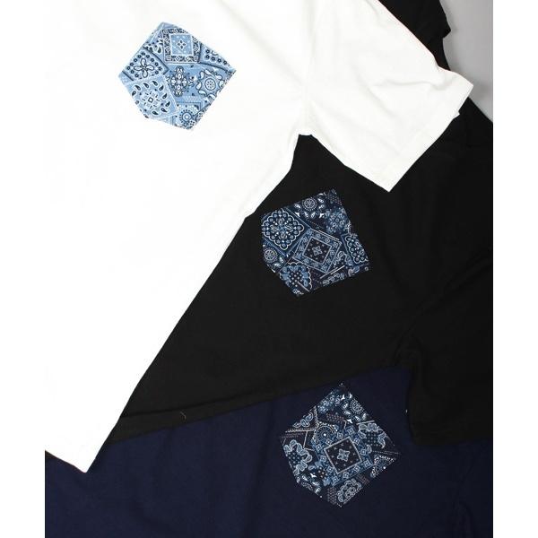 バンダナ柄ポケット付き クルーネック半袖Tシャツ
