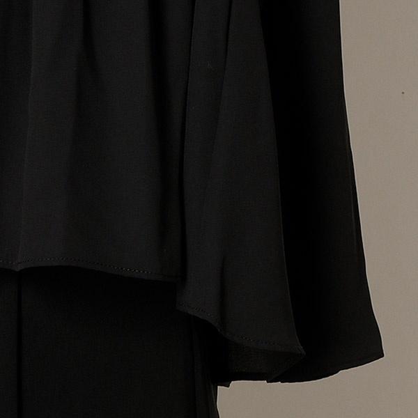 ノースリーブタックブラウス&ガウチョパンツスーツ 結婚式/二次会/謝恩会/同窓会/お呼ばれ/オフィス