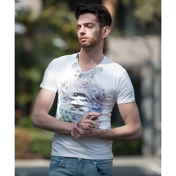 HYAKKA(ヒャッカ)香水フラワー柄VネックTシャツ