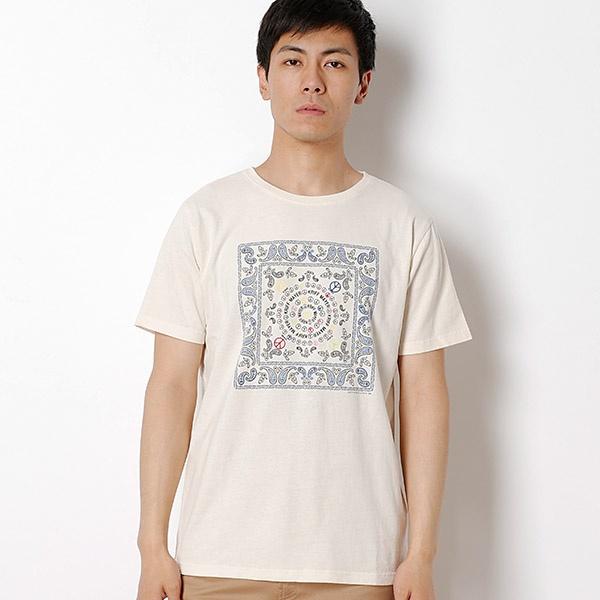 バンダナ柄+刺繍半袖Tシャツ