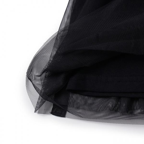 【150cmまで】ボーダー切り替えチュールスカート