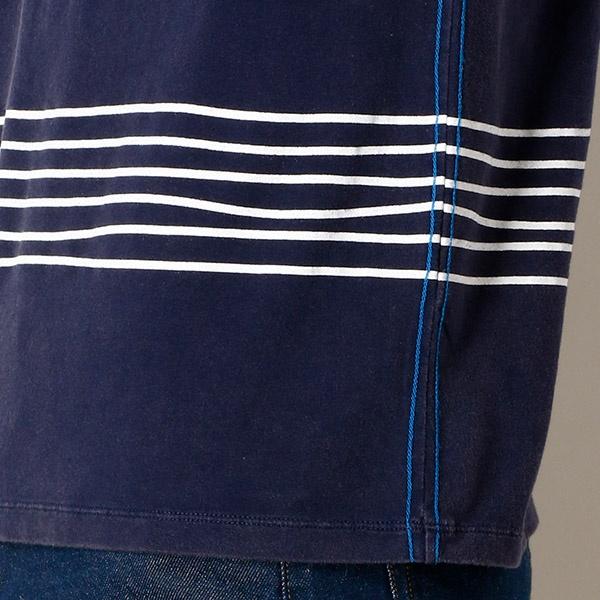 刺繍入りパネルボーダー半袖T