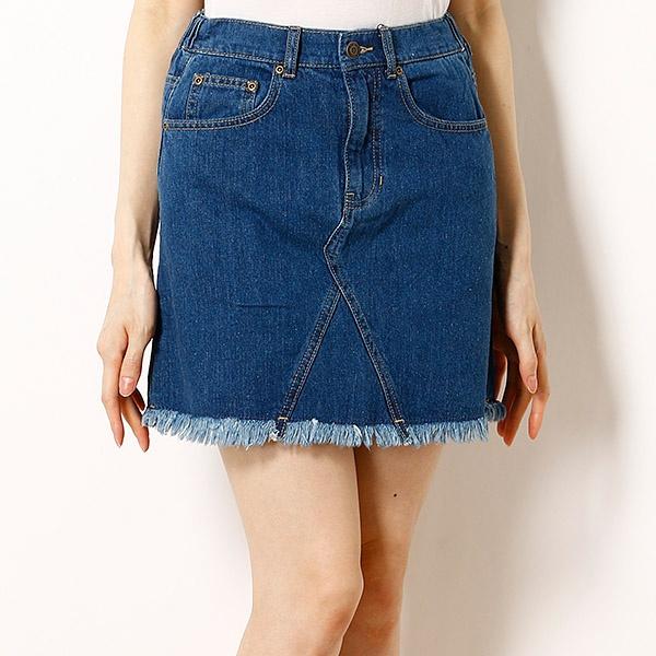 バックローズ刺繍デニムスカート