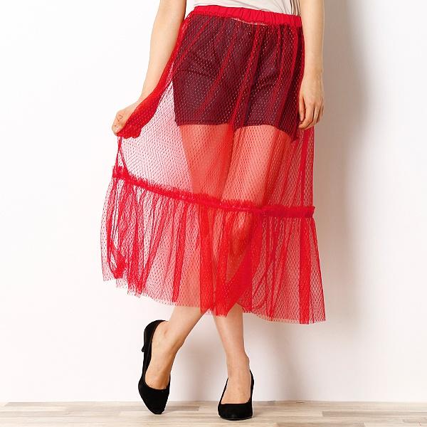 ・網チュールスカート