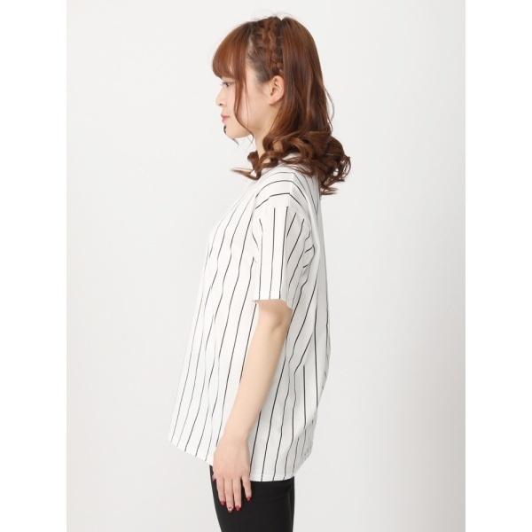 ウィゴー(WEGO/ストライプロゴプリントTシャツ)