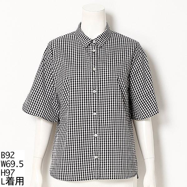 【大きいサイズ】【L~5L】ペタルスリーブ風シャツ