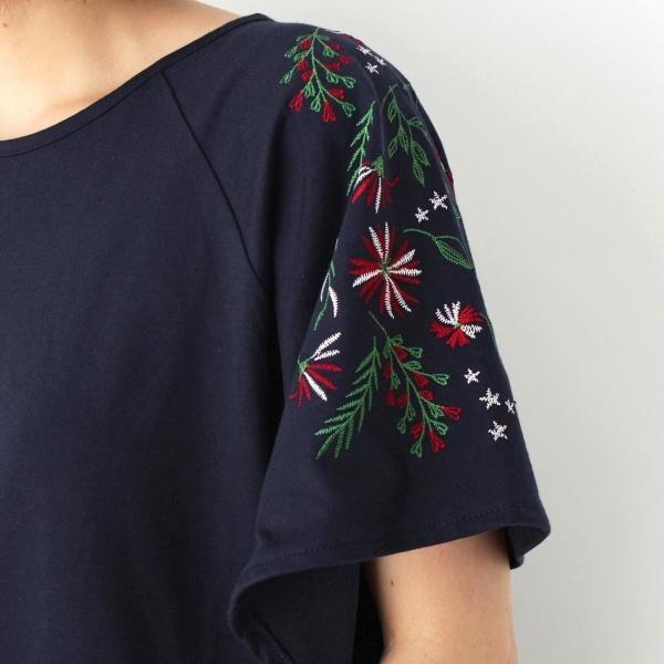 フレアスリーブ刺繍プルオーバー