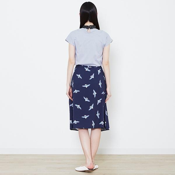 プディングバードプリントラップスカート