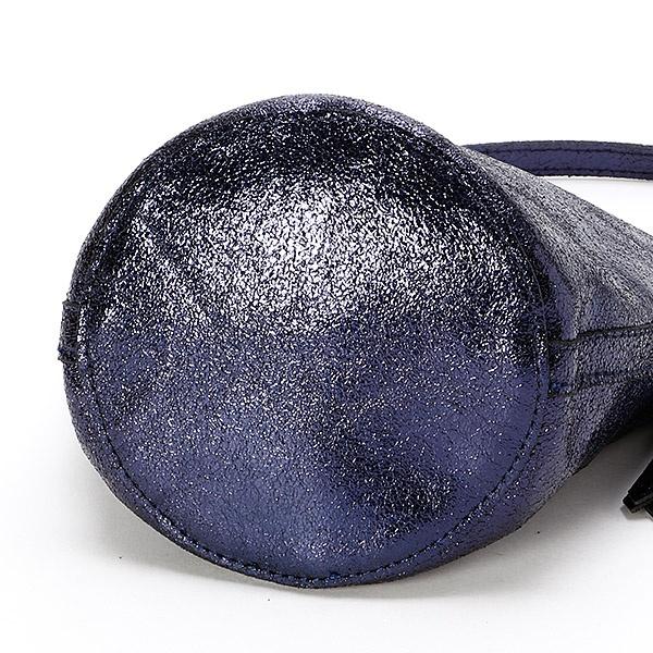 メタリックレザーバケツ型ミニショルダーバッグ