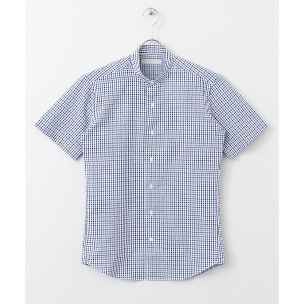 メンズシャツ(LIFE STYLE TAILOR サッカー半袖 NO COLLAR SHIRTS)
