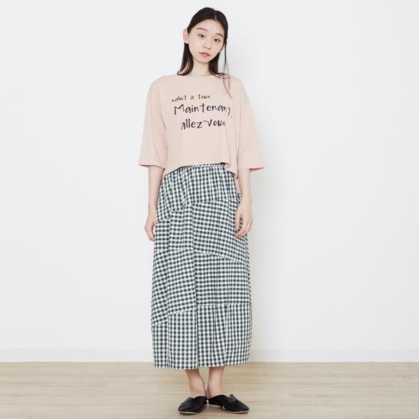6分袖ロゴTシャツ
