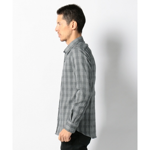 wrinkle check stretch SHIRT シャツ