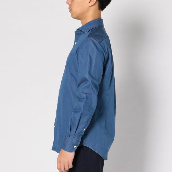SD: 【ウォッシュド】 インディゴ ソリッド シャンブレー ホリゾンタルカラー シャツ