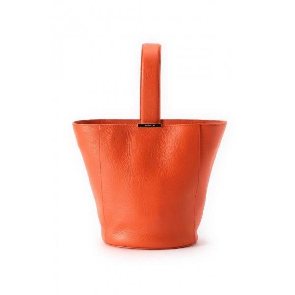 ショルダーストラップ付きバケットバッグ