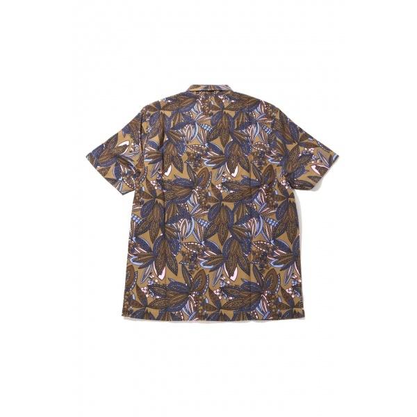 [Mens]リーフ柄プリント半袖シャツ