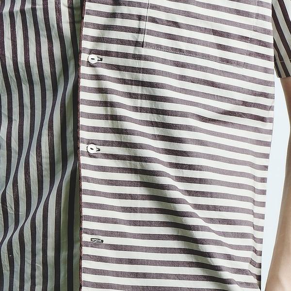ストライプパイピングオープンカラーシャツ