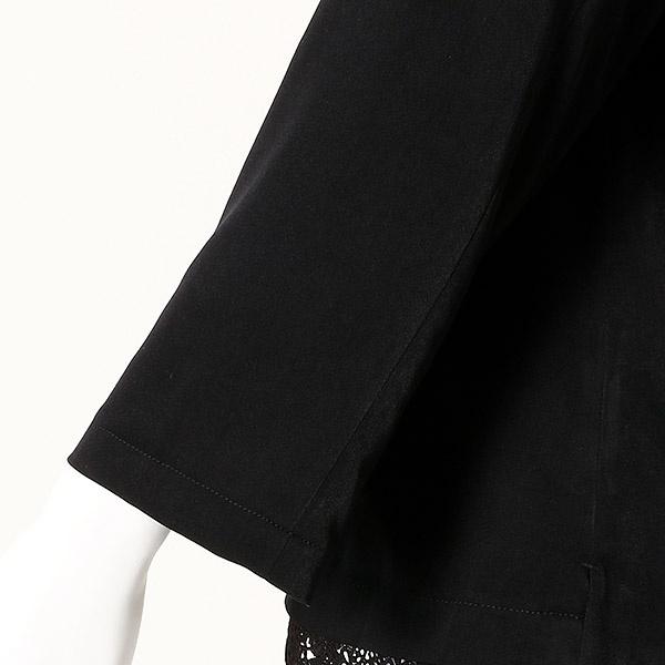 【大きいサイズ】【L~5L】フロント裾レースサテンピーチブラウス