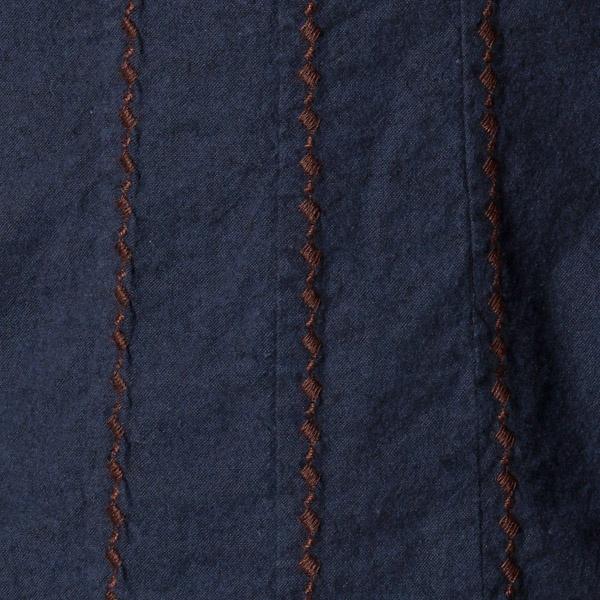 【大きいサイズ】【13・15・19号】シャンブレー起毛刺繍入りワンピース