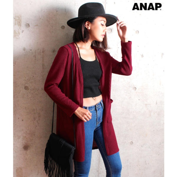 [マルイ]【セール】ポケット付きリブカーディガン/アナップ(ANAP)