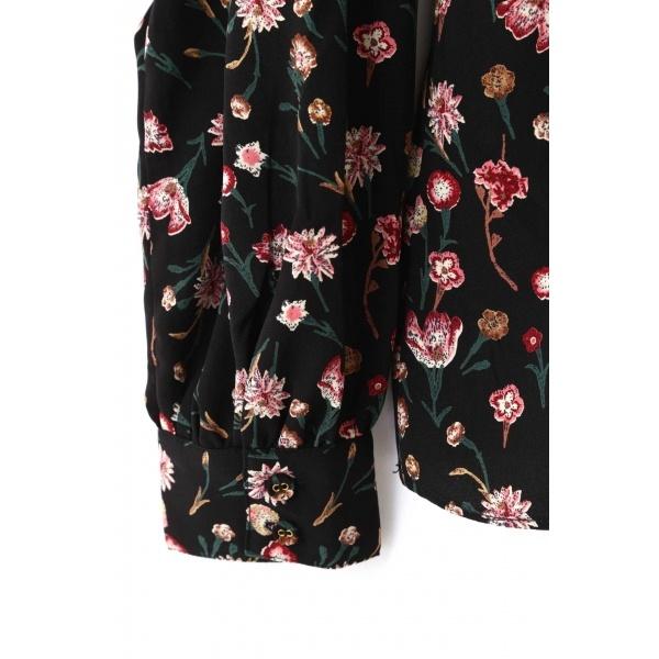 ショルダーラッフル花柄ブラウス