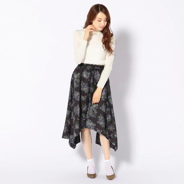 Khaju:フラワーイレギュラーヘムスカート