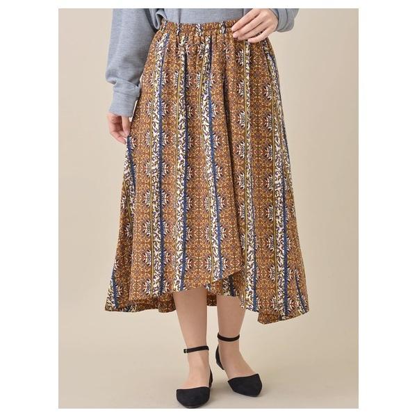 巻き風柄ギャザースカート