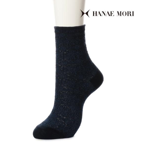 HANAE MORI ハナエモリ 【マルチストレッチ】 バタフライオーナメント クルー丈ソックス