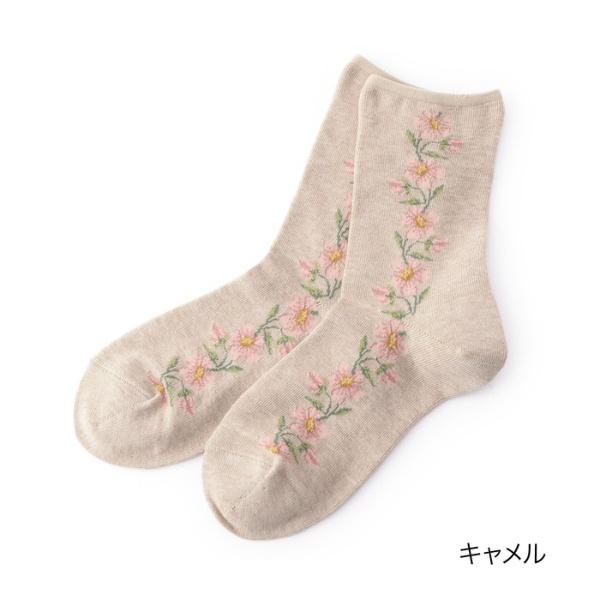 HANAE MORI ハナエモリ 【マルチストレッチ】 サイドフラワー クルー丈ソックス