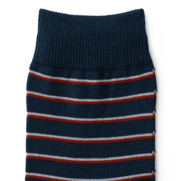 【直営店オリジナル商品 メンズサイズ】 目出鯛(めでたい)靴下 縞模様 クルー丈ソックス