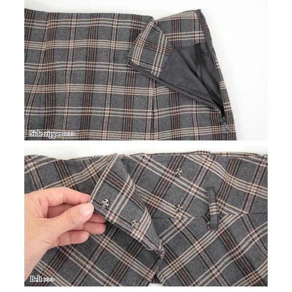 ベルト付きグレンチェックナロースカート
