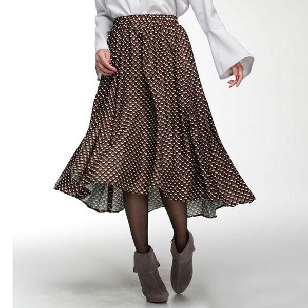 ジオメトリックプリント柄フィッシュテールスカート