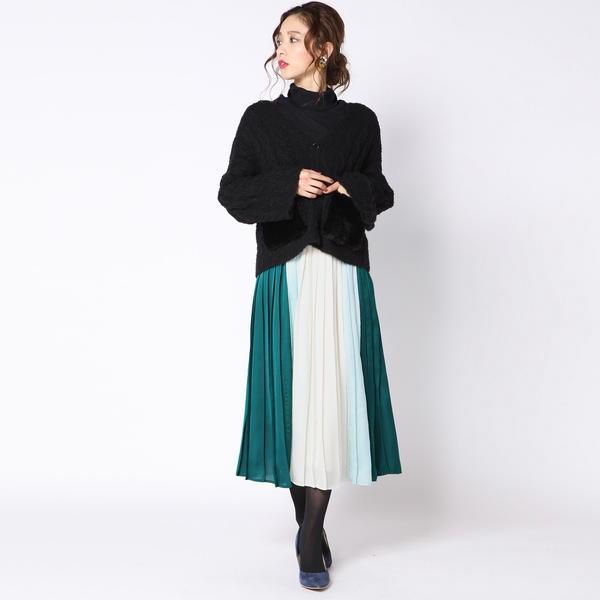 【大きいサイズ】配色プリーツスカート