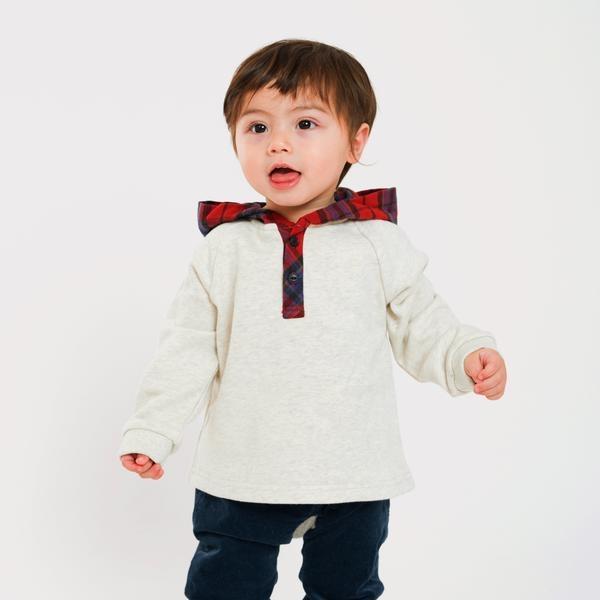 SHIPS KIDS:チェック フード スウェット(80~90cm)