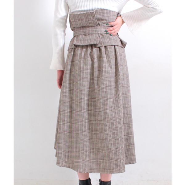コルセット付フレアスカート
