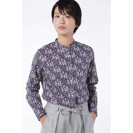 ba1b24cd566 ヒューマンウーマン(HUMAN WOMAN)のリバティプリント スタンドカラーシャツ。