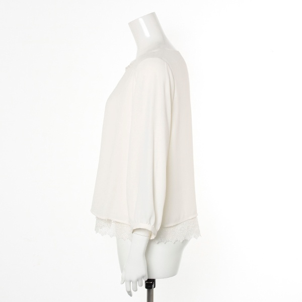 【大きいサイズ】【13号~21号】シフォンジョーゼット裾レースブラウス