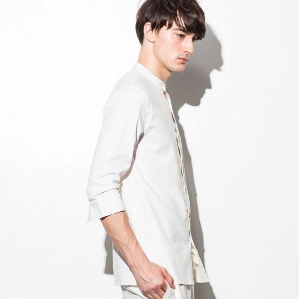 JH junhashimoto(ジェイエイチ ジュンハシモト) ストレッチリネンスタンドカラーシャツ