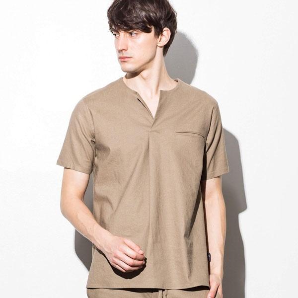 JH junhashimoto(ジェイエイチ ジュンハシモト) ストレッチリネンタックシャツ