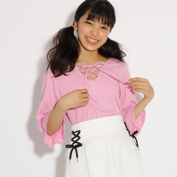 [マルイ]【セール】Tシャツ(キャンディースリーブロゴプルオーバー)/ピンク ラテ(PINK latte)