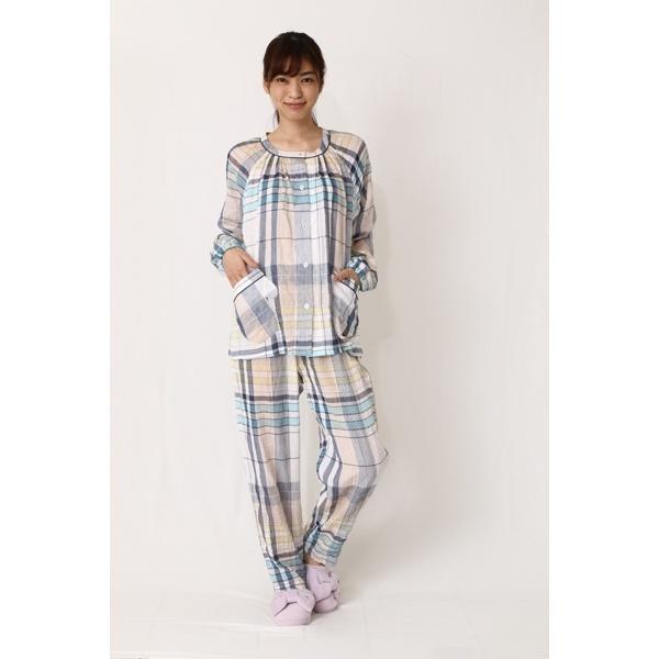 ルームウェア シャーリングWガーゼチェックパジャマ