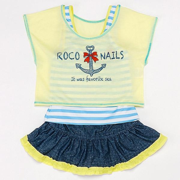 マルイウェブチャネル[マルイ] キッズミズギ(ロコネイルボーダータンキニTシャツ付き3点セット)/クリエイトファッション水着(キッズ)(CREATE FASHION KIDS)