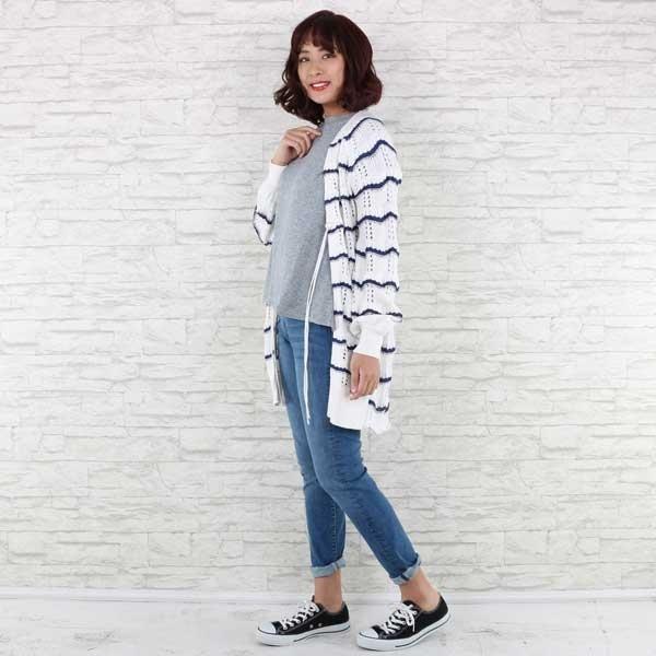【大きいサイズ】【21号(6L)~】裾刺繍ブラウス挟み込みニットトップス