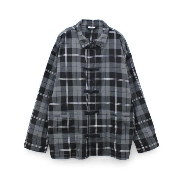 チェックチャイナルーズシャツ