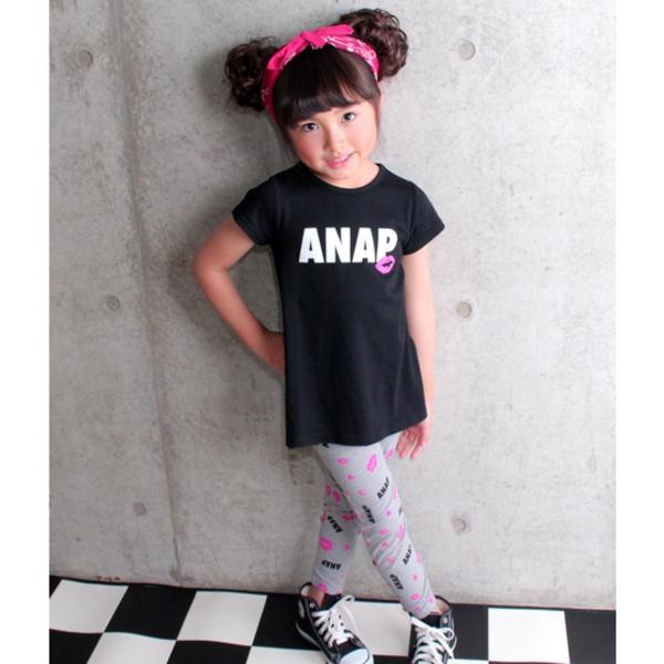 マルイウェブチャネル[マルイ]【セール】Tシャツワンピ+リップ柄レギンスSET/アナップキッズ&ガール(ANAP KIDS&GIRL)