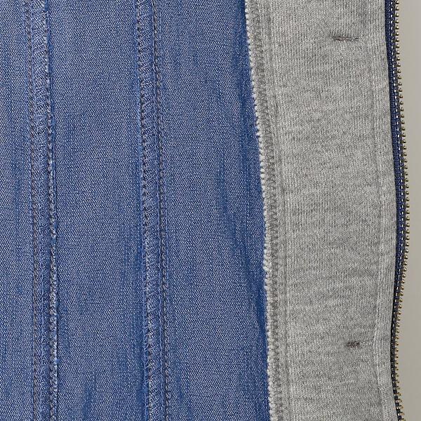 全2色【大きいサイズ】【3L~5L】デニム&裏毛パーカコンビジャケット