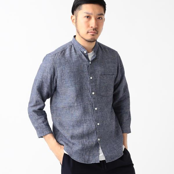 ビーミング by ビームス / ハードマンズリネン 2WAYカラー 7分袖シャツ