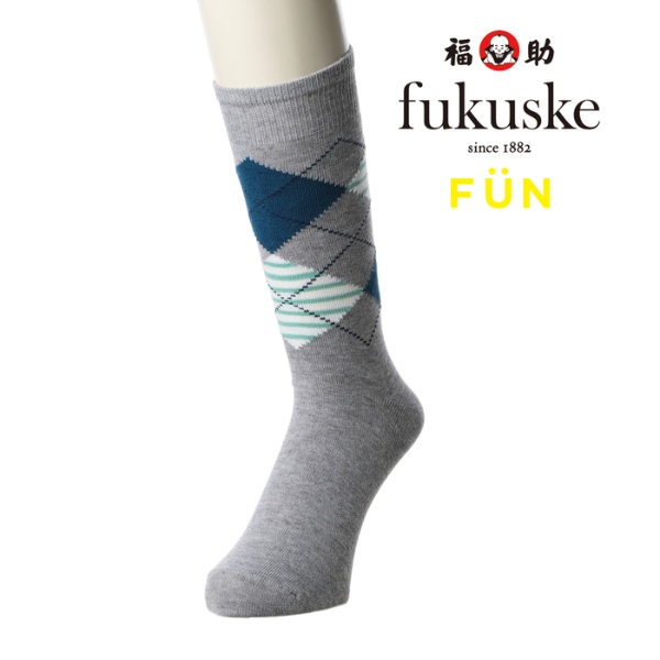 fukuske FUN ソフト口ゴム アーガイル レギュラー丈ソックス