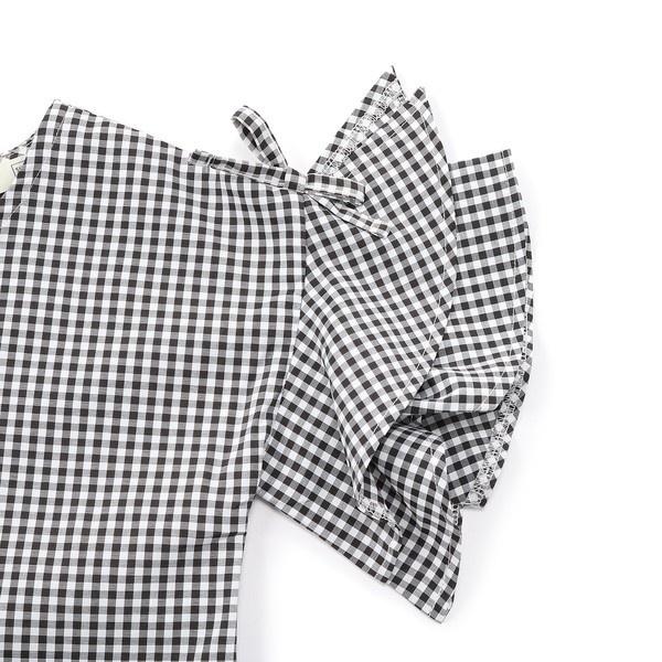 【MPS(150・160cm)】5分袖ギンガムチェックブラウス(ジュニアサイズ150・160cm) キッズ