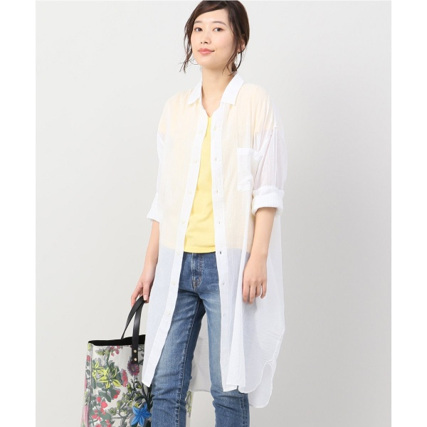 レディスシャツ(【ARMEN/アーメン】 UTILITY レギュラーカラーロングシャツ)