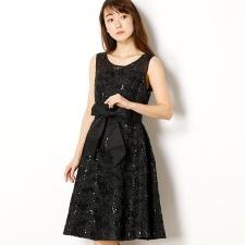 a145bd4d446d1 SALE デコルテビジューマーク 幾何学模様スパンコール刺繍レースドレス/ドリードール(Dorry Doll